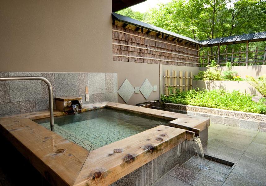 水上高原藤原スキー場の隣、ホテルサンバードには自慢の11の個室温泉、テニスコート、カラオケが備わります。